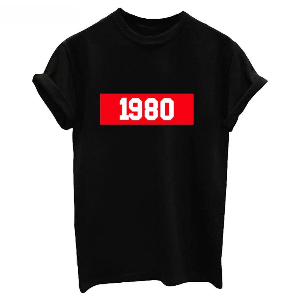 1980 Lettre Imprimé Mode T-shirt Femmes O Cou T Shirts Vintage t-shirt À Manches Courtes Blanc Tops Lady T-shirt2018