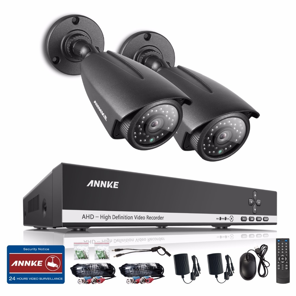 ANNKE 4CH AHD 1080N DVR CCTV System 2PCS AHDH 720P IR Waterproof Outdoor Security Camera home Video Surveillance Kit 4ch cctv system 1080p hdmi ahd 4ch cctv dvr 4pcs 1 3 mp ir outdoor security camera 960p waterproof camera surveillance system