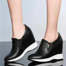 Outside Trainers Shoes Women Creepers Genuine Leather Wedges High Heel Pumps Slip On Punk Sneakers Casual Tennis