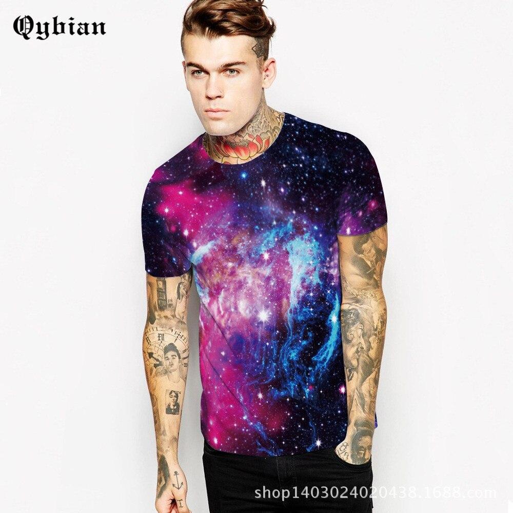 Qybian 2017 Summer Men T Shirt O Neck Fitness Tights Casual Tops Tees sky Printing Men