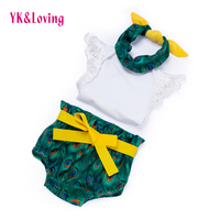 Retail Baby Clothing Set Romper Shorts Headband 3 Pieces Sets Baby 0 2 Years Birthday Outfits
