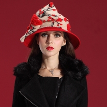 Winter Hats Women Hats Scarf Set Enchanting Dress Wool Felt Hat Natural 100% Wool Red Hat Big Bowknot