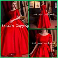 Fashion 2016 red a line half sleeve modest wedding dress ruched with sahses floor length vintage wedding gowns best selling