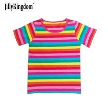 Jilly Kingdom HOT 2019 New Summer children clothes girl girls Rainbow t shirt stripe kids short sleeve t-shirts 100% cotton цены