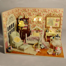 Cute DIY Wooden Dollhouse Handmade Model With LED Light And Cover Three Inch of Sunlight Gift
