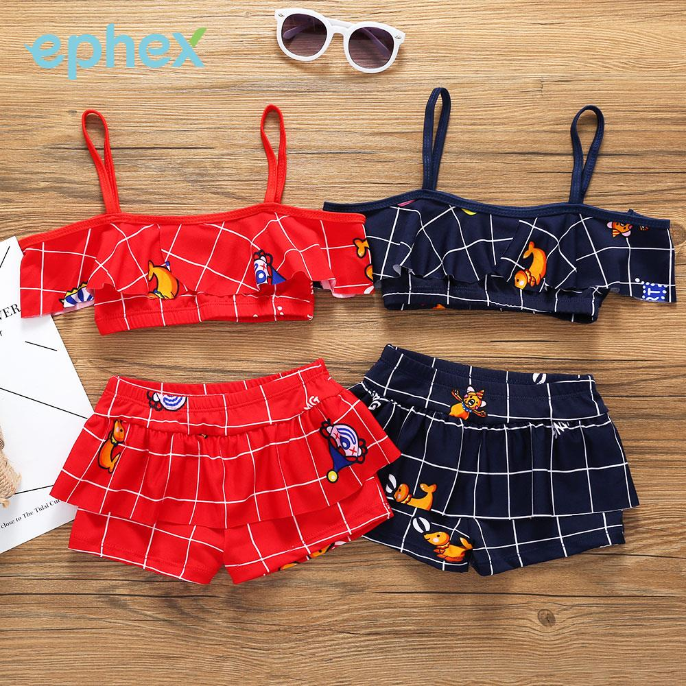 Girls Beachwear Children Swimwear Swimwear Grid Beach Children Pool Swim