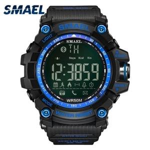 Image 5 - SMAEL dijital saat erkekler Bluetooth akıllı saat su geçirmez 50M büyük arama çağrı hatırlatma uzaktan kamera açık spor kol saati 1617B