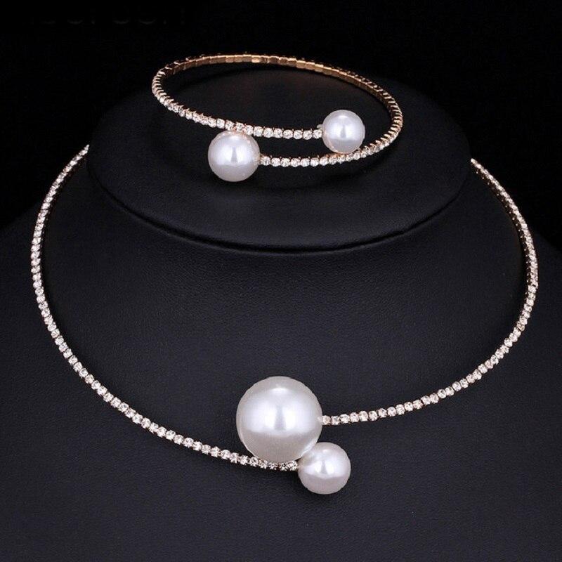 Beads Crystal Bridal Jewelry Sets Female Vintage Ethnic Wedding Bijoux Gift 2017 Fashion Luxury Necklace Bracelet Sets for Women