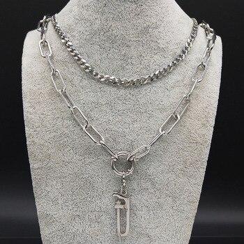 ¡Moda 2020! Collar de cadena de acero inoxidable estilo Punk con capas de Color plateado para mujer, gargantilla de joyería N19172