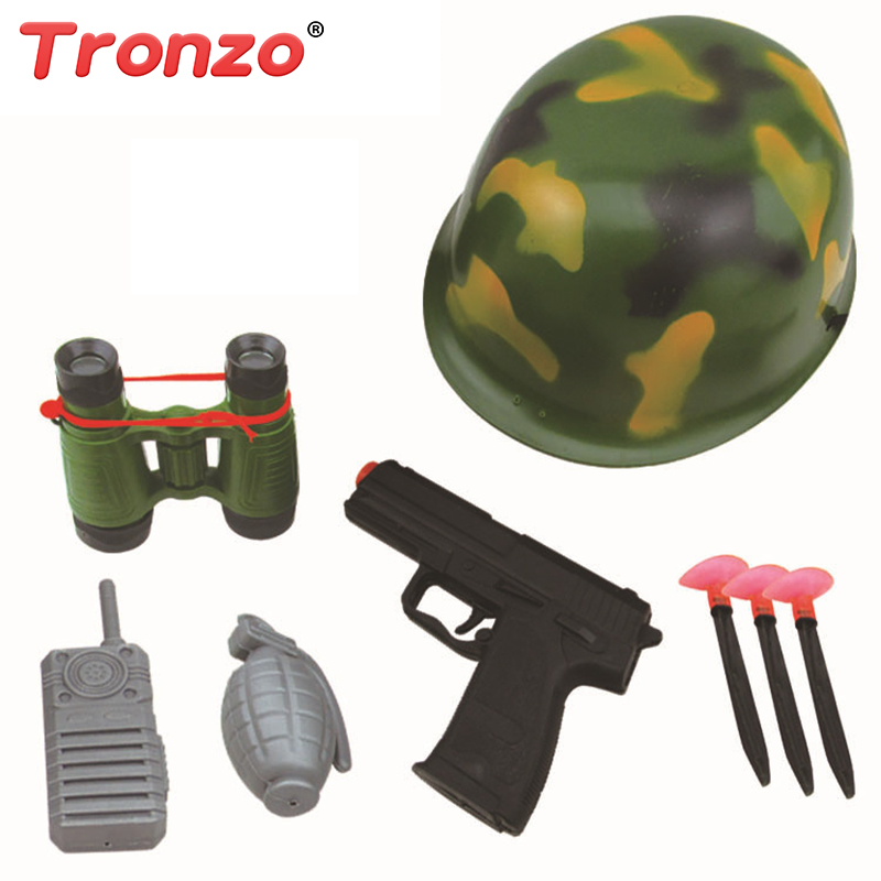 Tronzo 8Pcs/Set Pretend Play Soldier Toy Set Camouflage Cap Telescopes Intercoms Childrens Toys For Boy Drop Shipping