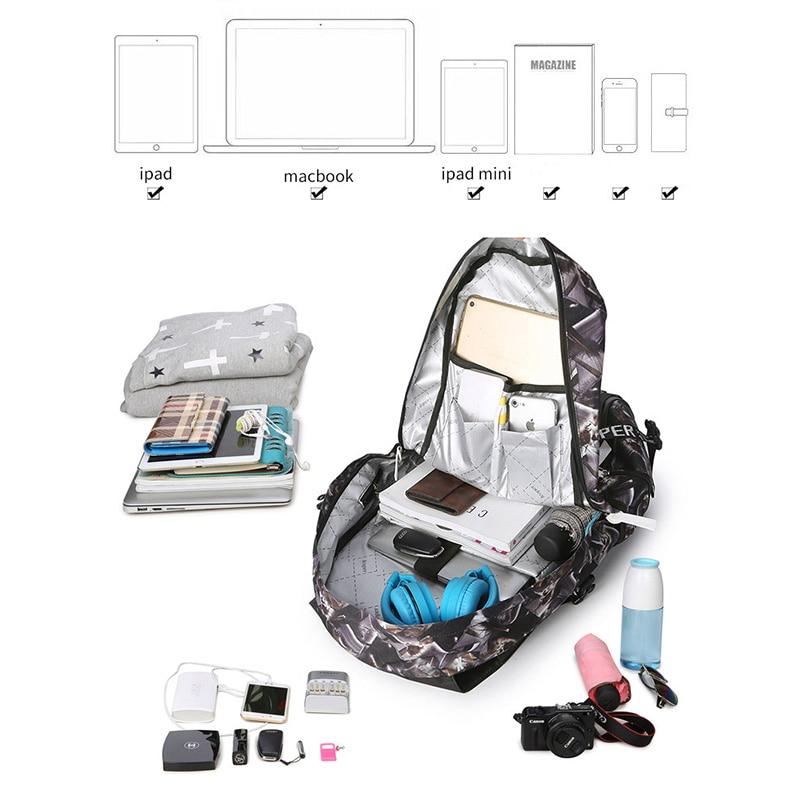 Leaper sac à dos hommes Usb Charge impression Designer sac à dos pour ordinateur portable 15.6 pouces étudiant Oxford sacs d'école pour adolescents étanche - 4