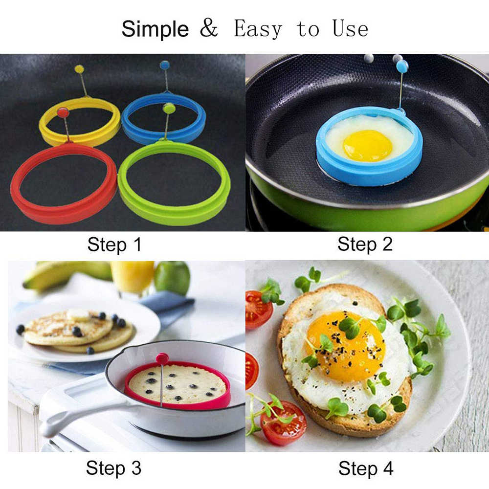 1x Silicone Eggs Steamer DIY Fried Egg Pancake Ring Fried Egg Mould Cooking Tool