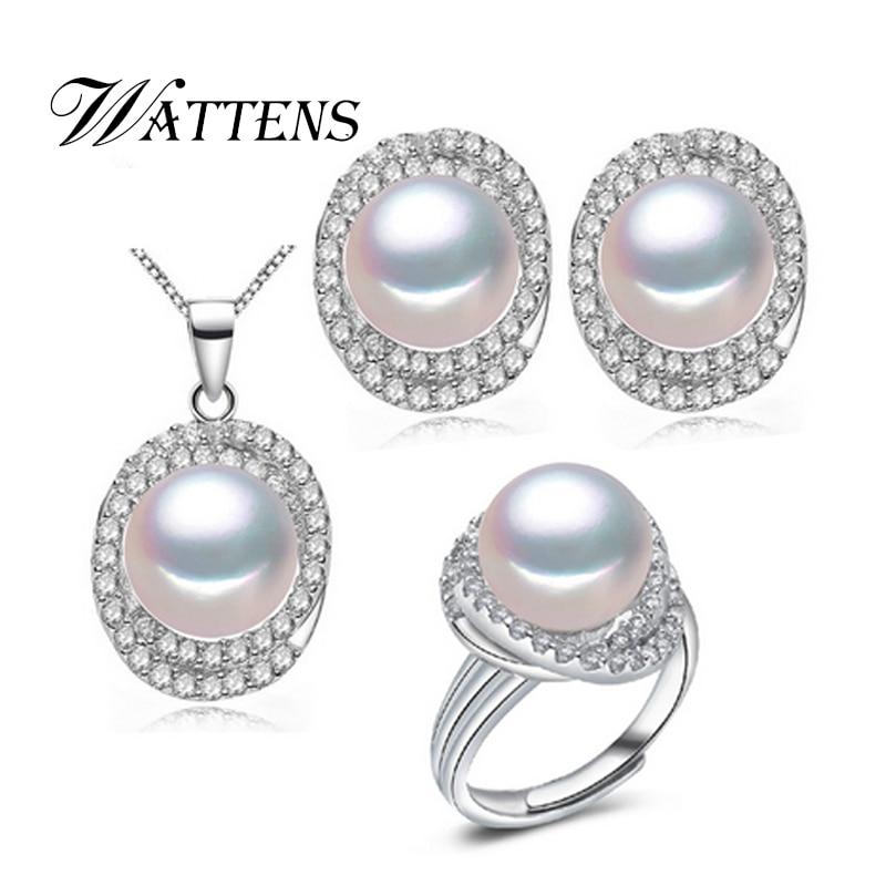 Természetes gyöngy ékszerkészlet 925 ezüst medál nyaklánc - Divatékszer