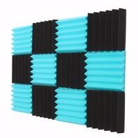 MTGATHER 12Pcs 12 X12 X1 Wedge Acoustic Studio Sponge Soundproofing Foam Wall Tiles Pyramid Studio Foam