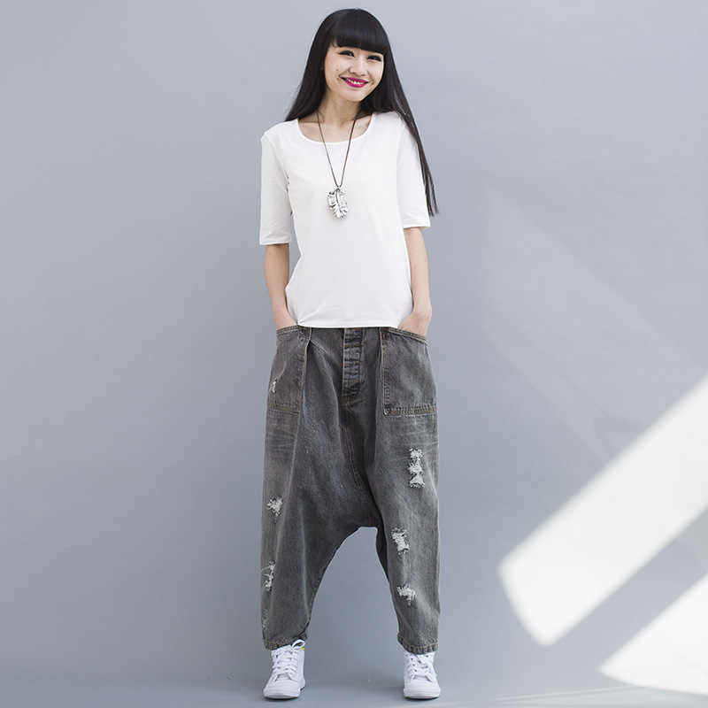 Denim Elastic Waist Baggy Pants Women Casual Hip hop Drop Crotch Harem Pants Fashion Loose Trousers Ripped Boyfriend Jeans