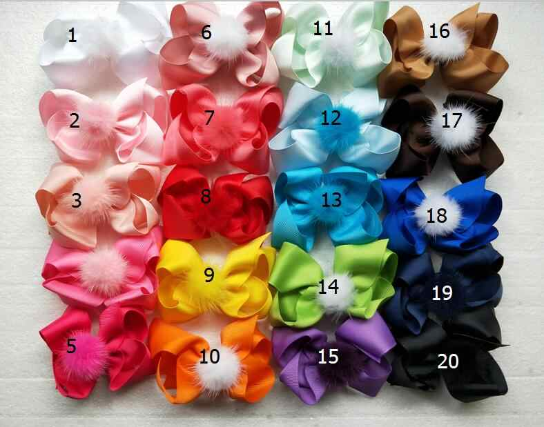 "50pcs 4""  Fur Pom Pom hair bows clips Girls pompon headwear Boutique hair elastic hairgrip pompom hair Accessories GR108"