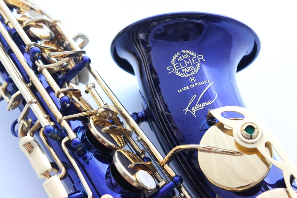 French Selmer 54 E Flat Alto Saxophone Eb Top Musical Instrument Saxe Blue lacquer Carved Process Sax Salm tenor saxophone free shipping selmer instrument saxophone wire drawing bronze copper 54 professional b mouthpiece sax saxophone