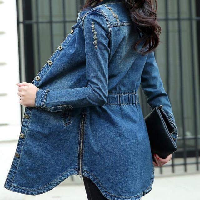 Plus Size Summer Jacket long sleeve Cardigan Ladies Jeans Waistcoats Long Denim Women