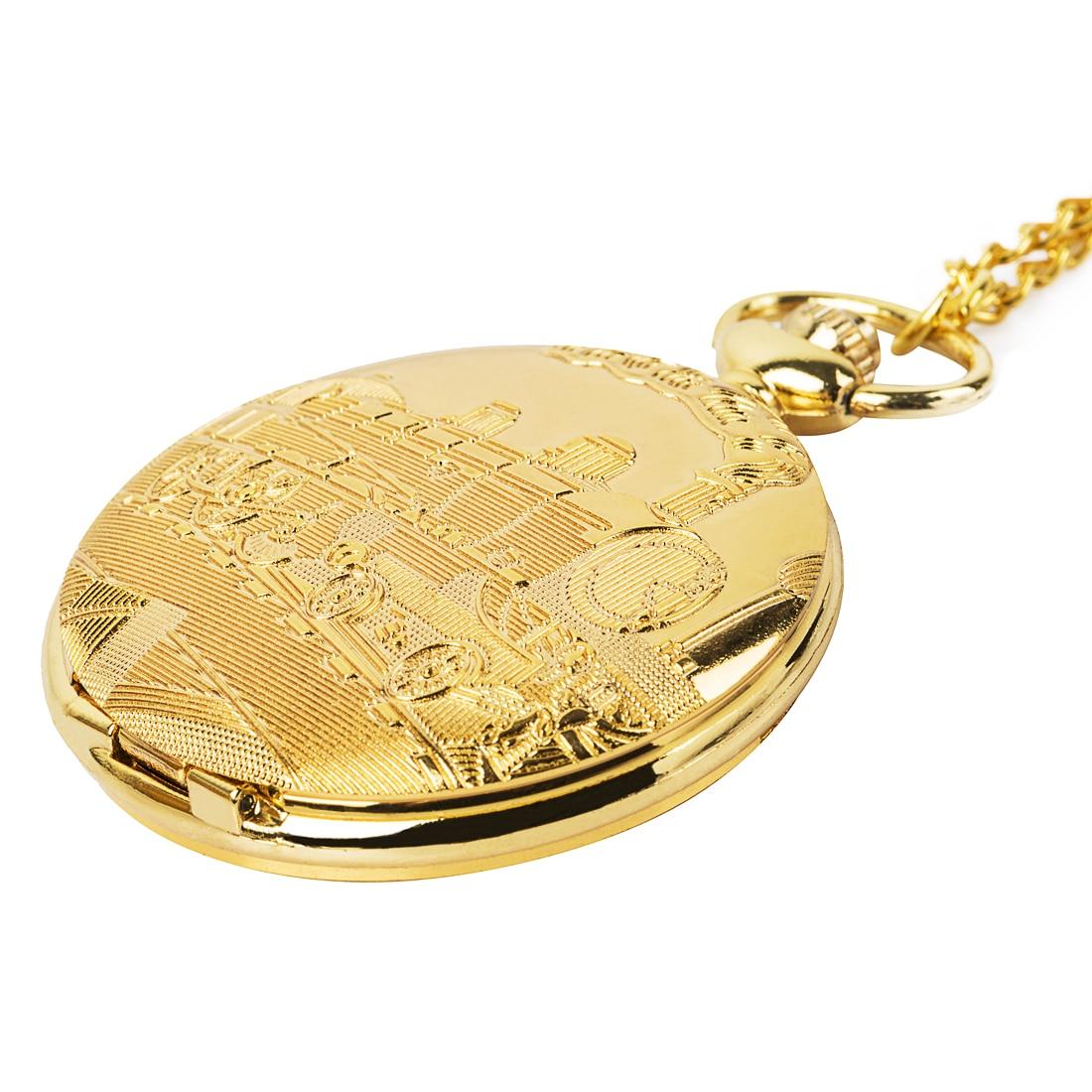 High Quality Retro Bronze Golden Locomotive Theme Roman Number Mechanical Pocket Watch