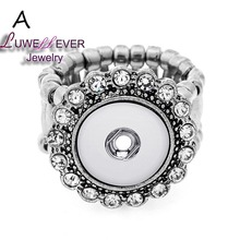 Plated Press Snap Buttons Spring Button Crystal Rings For Women Fit 12mm Buttons Ring Snaps Jewelry