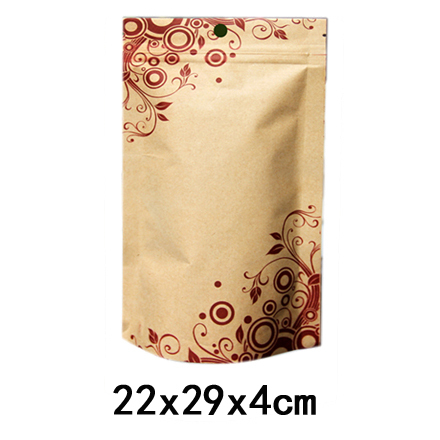 Skillful Knitting And Elegant Design Kraft Paper Bag With Ziplock For Food Stand Up Kraft Paper Bag flowers Print 22x29x4cm 100pcs/lot To Be Renowned Both At Home And Abroad For Exquisite Workmanship