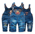 2016 autumn winter baby clothing boys little girls denim trousers bib pants European and American style cotton rompers jumpsuits