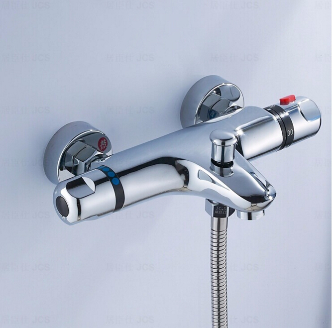 ФОТО High quality brass chrome wall mounted bathroom thermostatic faucet,thermostatic bathroom shower faucet,bathtub faucet