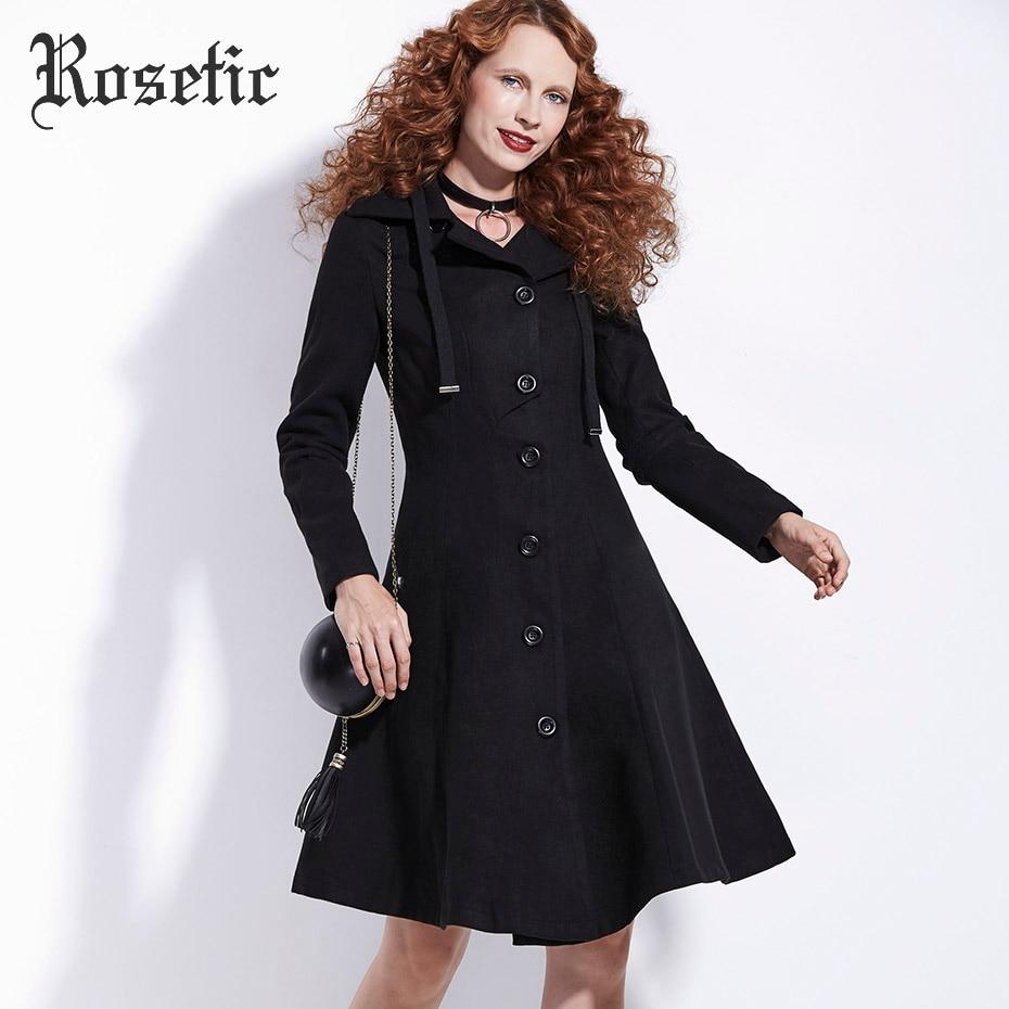 Rosetic Gothique Noir Pardessus De Laine Femmes D'hiver A-ligne Unique Poitrine Survêtement Occasionnel Plus Moulante Mode Femme Goth Manteau