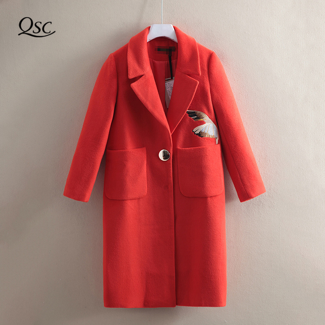 Trench Coat Women 2018 Spring Autumn Fashion Embroidery Long Wool Coat Tide  Casual Plus Size Female 41fd77753940