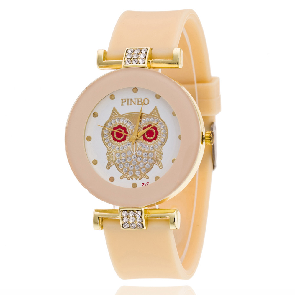 Cartoon Watch For Women Boy Girls Students Owl Patter Silicone Luxuy Diamond Jelly Gel Quartz Analog Sport Wrist Watch Colock analog watch