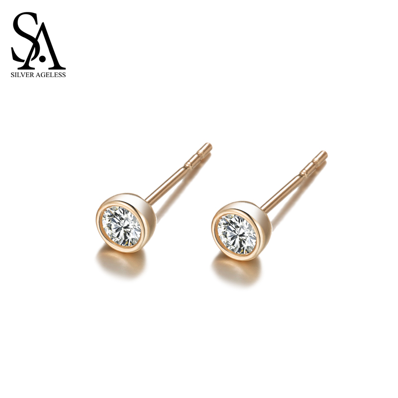 SILVER AGELESS Real 9K Rose Gold Stud Earrings for Women Fine Jewelry High Quality Gold Earrings Female starry pattern gold plated alloy rhinestone stud earrings for women pink pair