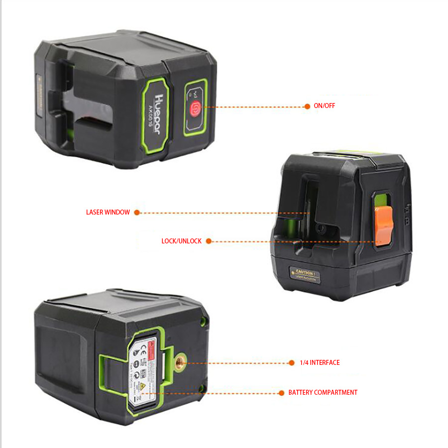 AK-011 Red Green Lights Outdoor Laser Level 2 Lines Instrument Tool Automatic High Precision Waterproof Laser Levels IP54 high quality southern laser cast line instrument marking device 4lines ml313 the laser level