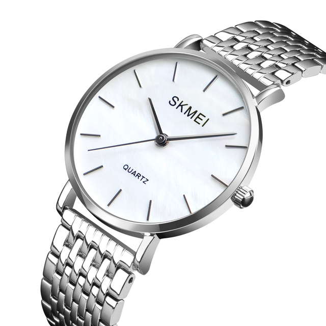 SKMEI Women Fashion Stainless Strap Analog Quartz Wrist Watch Luxury Simple Styl