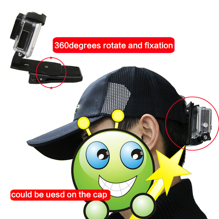 360 Degree Quick Release Rotary Backpack Hat Clip Fast Clamp Mount For GoPro Hero 7 6 5 4 3 for Go pro Sports Action Cameras in Sports Camcorder Cases from Consumer Electronics