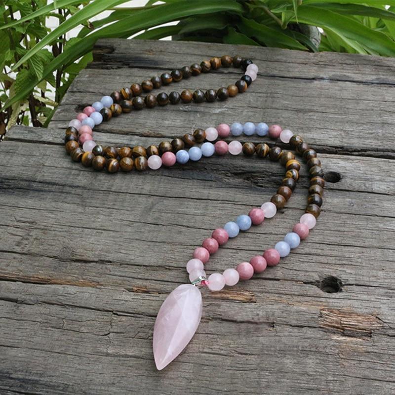 Beads Necklace Jewelry Mala Tiger's-Eye Rhodochrosite And 8mm Class-Prayer Yoga 108