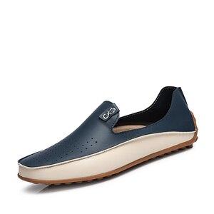 Image 4 - PUPUDA موضة أحذية من الجلد للرجال جديد الانزلاق على المتسكعون حجم كبير 47 أحذية قيادة عادية واسعة 2019 حذاء رسمي حذاء رياضة الذكور