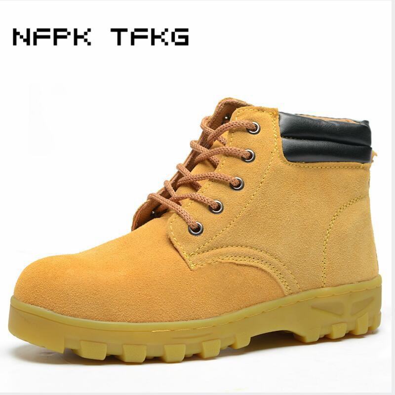 mens casual breathable steel toe covers work safety shoes cow suede leather tooling ankle security boots protective footwear man все цены