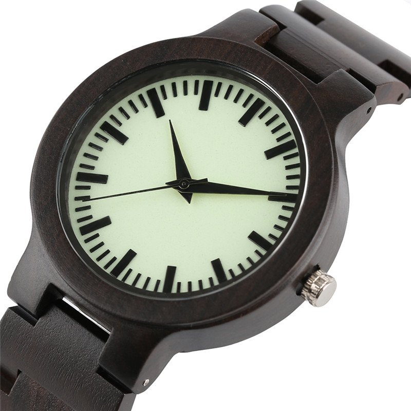 Novel Luminous Ebony Watches Casual Men Sport Bamboo Wood Wrist Watch Creative Fold Clasp Band Bangle Clock Reloj green face bamboo gift new arrival handmade nature wood bangle simple men hot casual women wrist watch modern novel fold clasp