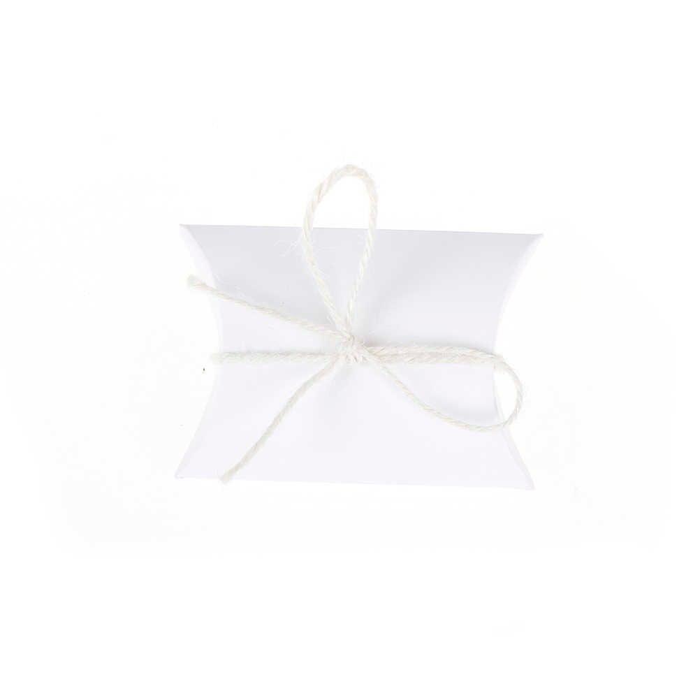 50 Pcs casamento Travesseiro Anti-Riscos Caixa Caixas de Doces Festa de Casamento Favor Caixas de Lanche de Biscoitos Doces de Presente de Natal presentes