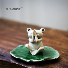 WIZAMONY Chinese Purple Clay Kung Fu tea Set Tea Pet Lotus Frog Tea Accessories for puer Oolong Tea Home Deco цена
