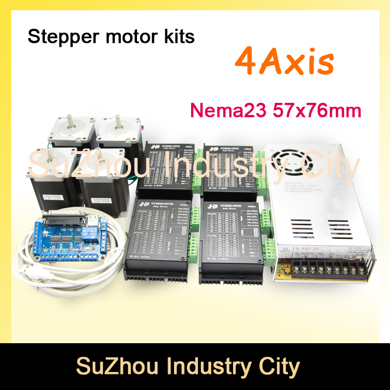 цена на 4Axis CNC stepper motor control kits name23 stepping motor + Driver 9-42VDC,4A+Power supply switch 400w 36v+5axis breakout board