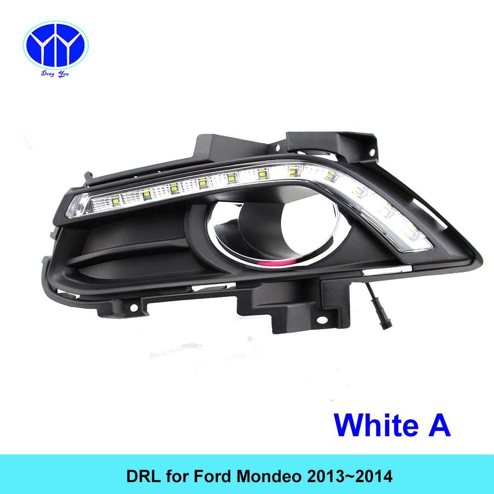 Car DRL KIT for Ford Mondeo 2013 2014 LED Daytime Running Light bar Relay auto fog lamp super bright daylight for car led drl hireno super bright led daytime running light for ford raptor f150 f 150 2010 2011 2012 2013 2014 car led drl fog lamp 2pcs