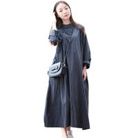 Mori Girl High Waist Robe Femme Striped Shirt Dress Spring Autumn Dress Women Vestidos A Line