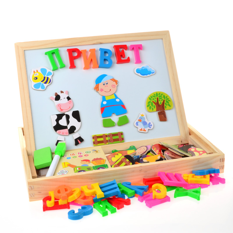 SSTB En Bois Alphabet Russe Lettre Animal Magnétique Puzzle Planche à Dessin Apprentissage et L'éducation Jouets Loisirs pour Enfants Enfants