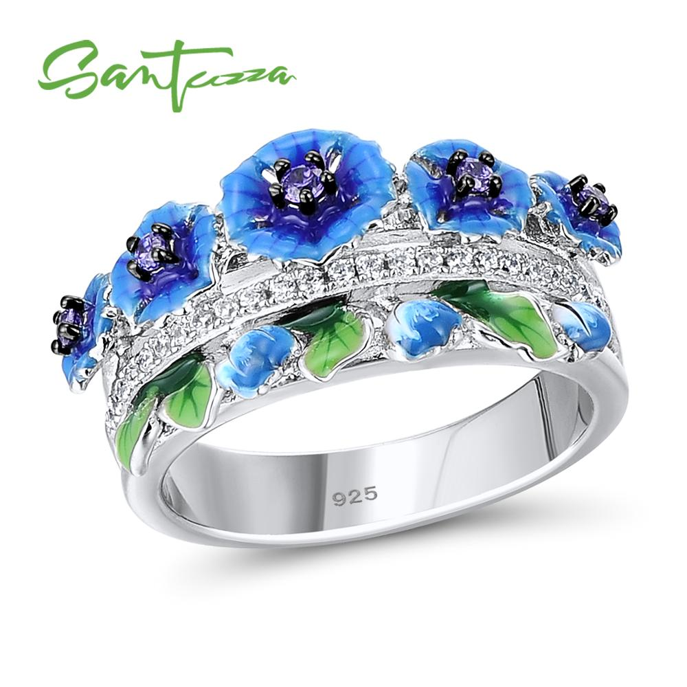 SANTUZZA Silver Ring For Women 925 Sterling Silver Exquisite Blue Blooming Flower Cubic Zirconia Ring Fashion