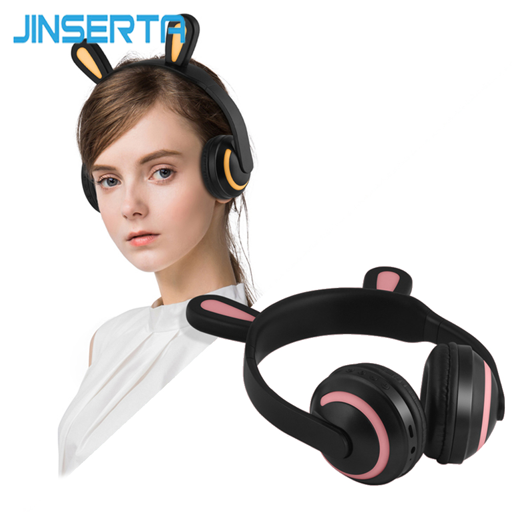 JINSERTA Kids Rabbit Ear Headphones 7-Colors LED Flashing Glowing Gaming Headset Wireless Bluetooth Earphones For Adult Children