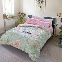 Fresh peach blossoms green 4pcs bedlinens high quality thick sanding cotton Queen/King Size duvet cover+flat sheet+pillowcases