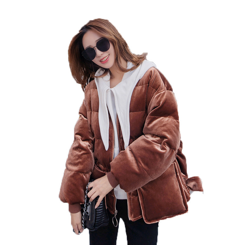 Velvet Short Casual Padded Womens Winter Jackets Loose Cotton Parka Thick Stand Collar Winter Jacket Wadded Women Coat TT3516 scuwlinen 2017 winter coat women vintage slanting lapel handmade plate button loose wadded jacket long casual cotton padded w13
