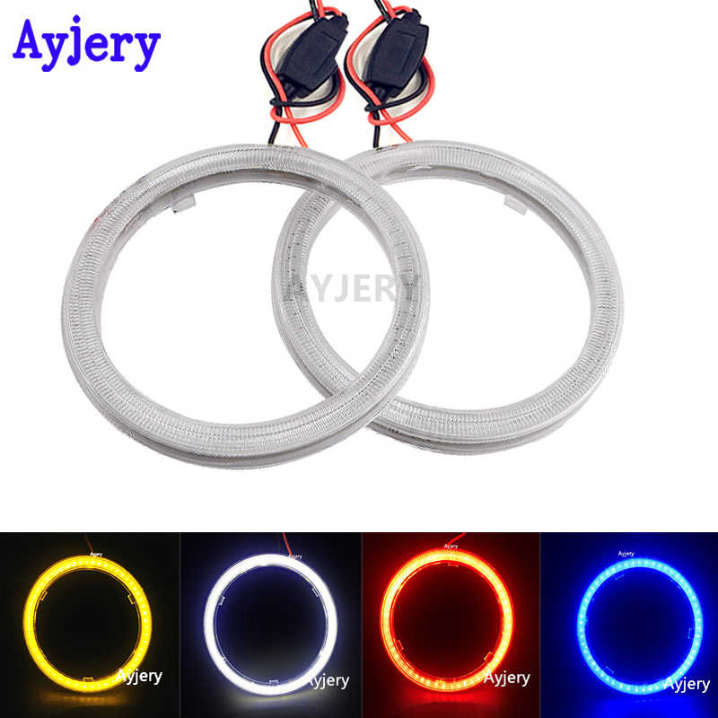 AYJERY 7 سنتيمتر 2 قطعة COB LED عيون الملاك 70 مللي متر 60 SMD 12 فولت DC السيارات حلقة هالو سيارة دراجة نارية مع غطاء أبيض أزرق أحمر أخضر أصفر مزيج
