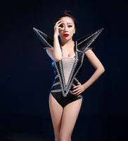Birthday Party Bodysuit Women Sparkly Crystals Leotard Elasticity Jumpsuit Sexy Female DJ Costumes Club Bar Singer Jazz Outfit